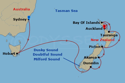 Map Of Australia New Zealand And Tasmania.New Zealand Voyage 14 Night Fly Stay Cruise Package Cel5356